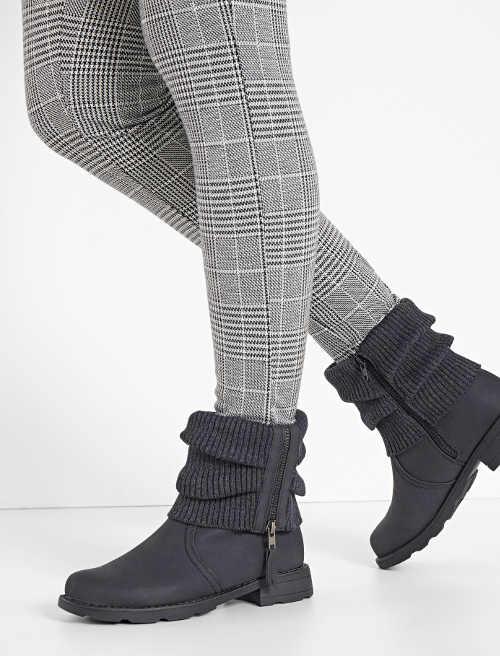Antracitové dámské zimní boty s pletenou vsadkou