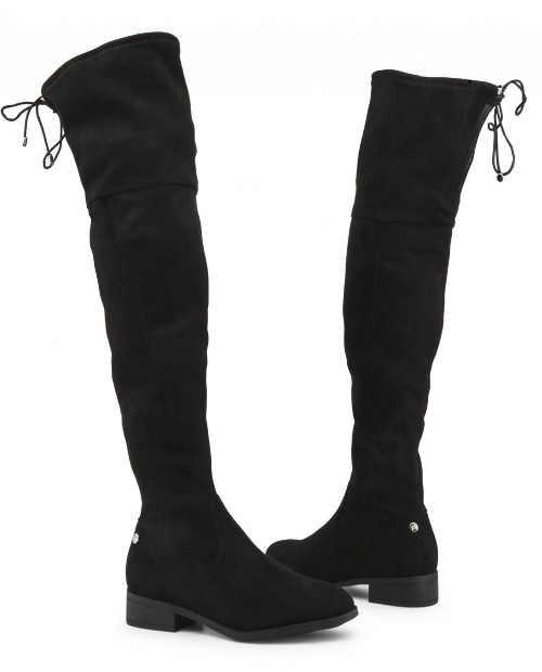 Černé dámské kozačky nad kolena se stahovací šňůrkou