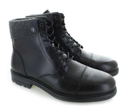 Černé kožené pánské kotníkové zimní boty s kožíškem