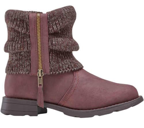 Kotníková dámská zimní obuv s pletenou vsadkou na zip