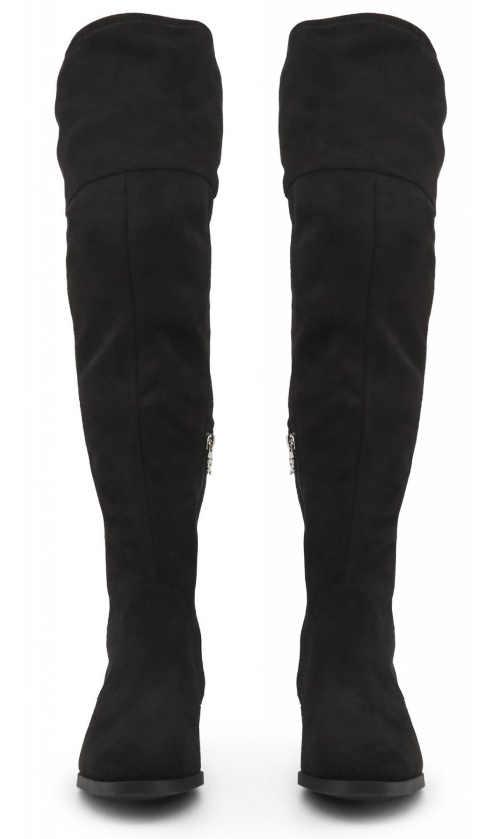 Vysoká dámská zimní obuv černé kozačky