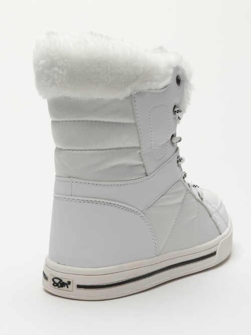 Bílé dámské zimní boty zateplené