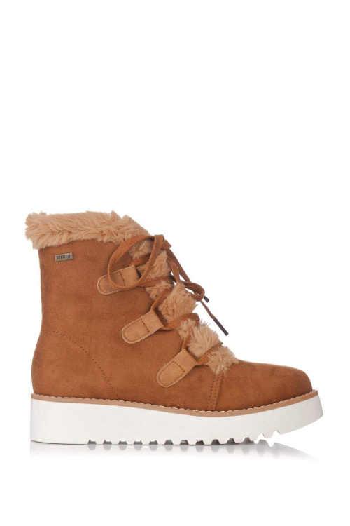 Hnědé dámské zimní boty na nižším klínu