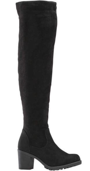 Černé vysoké dámské kozačky nad kolena Bonprix