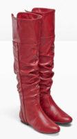 Červené kozačky nad kolena z umělé kůže