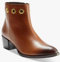 Kotníkové kožené boty s kovovými očky