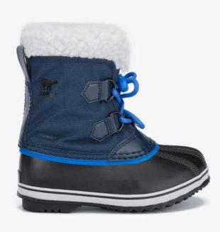 Modro-černé dětské sněhule Sorel s bílým kožíškem