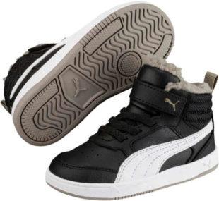 Černobílé dětské zimní tenisky Puma REBOUND STREET V2 FUR PS