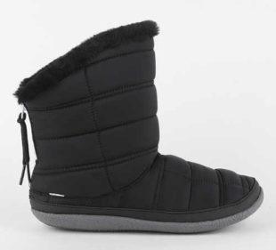 Dámské černé barefoot sněhule Toms Black Quilted
