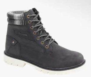 Antracitové pánské zimní šněrovací boty s bílou podrážkou