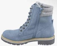 Světle modrá dámská zimní kotníková obuv se šněrováním a zipem