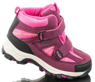 Růžovo-fialové dětské zimní boty s dvěma pásky na suchý zip