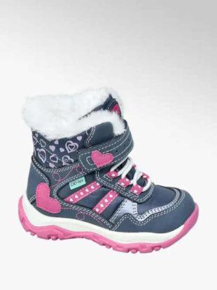 Dětské zimní boty s kožíškem a zdobené srdíčkem